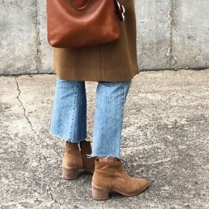 Madewell Pointed Toe Camel Suede Ankle Booties